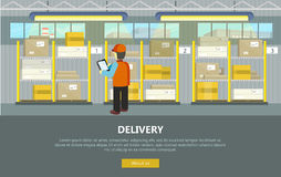 Delivery Conceptual Vector Web Banner in Flat Style Stock Images