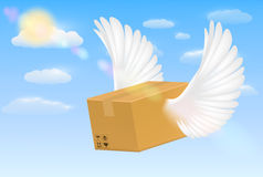 Delivery corrugated carton box with flying bird wing. A delivery corrugated carton box with flying bird wing Royalty Free Stock Photos