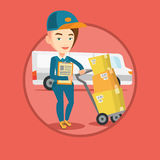 Delivery courier with cardboard boxes. Royalty Free Stock Photo