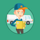Delivery courier carrying cardboard boxes. Stock Image