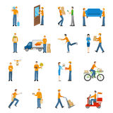 Delivery Courier People Icons Set Stock Image