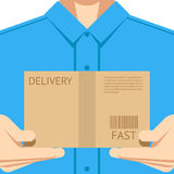 Delivery courier postal man delivering package Royalty Free Stock Photos