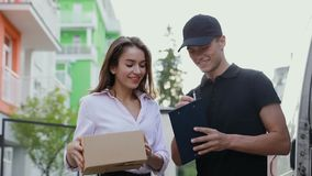 Delivery Courier Service  Man Delivering Package To Woman  Receiving,  serving