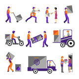 Delivery, courier service, person freight logistic. Business service icons flat set isolated vector illustration Royalty Free Stock Image