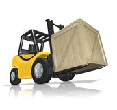 Delivery in the crate. 3D Rendered yellow forklift with the crate over white background Stock Image
