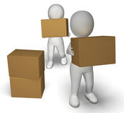 Delivery By 3d Characters Showing Moving Packages Royalty Free Stock Photography