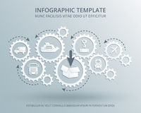 Delivery and distribution business vector consept with gears mechanism, transport, packing and shipping icons. Transportation and logistic industry royalty free illustration