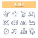 Delivery Doodle Icons. Doodle  line icons set of delivery services and logistics Royalty Free Stock Images