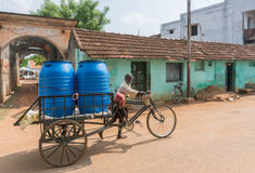 Delivery of drinking water in Kothamargalam. Royalty Free Stock Photos