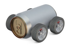 Delivery drinks concept metallic can on wheels Stock Image