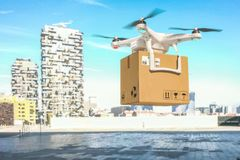 Delivery drone on duty. 3d rendering image royalty free stock photos