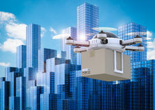 Delivery drone flying in city royalty free stock photography