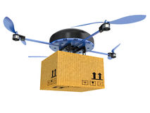 Delivery drone with the package isolated on white background Royalty Free Stock Image