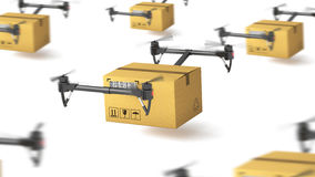 Delivery drone with post package Royalty Free Stock Photo