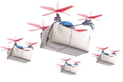 Delivery drone swarm Stock Photo