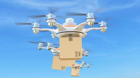 Delivery drones with cargo package for fast delivery concept