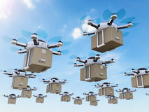 Delivery drones flying. 3d rendering delivery drones flying in the sky Royalty Free Stock Photography