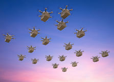 Delivery drones flying stock illustration