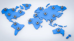 Delivery drones on world map royalty free illustration