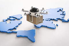 Delivery drones on world map Stock Image