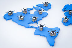 Delivery drones on world map stock illustration