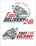 Delivery elements. Gray and red shipping signs Royalty Free Stock Photo