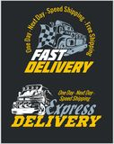 Delivery elements. Yellow and white signs labels. Royalty Free Stock Photo