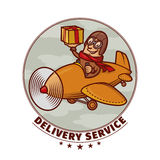 Delivery emblem with smiling pilot Stock Photography