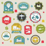 Delivery Emblems Colored. Paper shipping stickers set isolated vector illustration Stock Photography