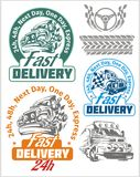 Delivery emblems and vector elements. Shipping Royalty Free Stock Photos