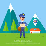 Delivery Everywhere Banner. Courier with Package. Delivery everywhere. Postman delivers mail envelope to the furthest parts of the world. Mailman in suit holding Stock Photography
