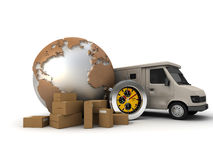 Delivery express. 3D rendering of a world map with packages, a chronometer and a delivery van Royalty Free Stock Image