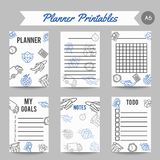 Delivery and express shipment planner. Courier and shipping icons. Logistic service organizer. Line art vector. Illustration Stock Image