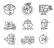 Delivery flat icons. Vector black delivery flat icons on white Stock Photo