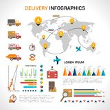Delivery flat infographics set Royalty Free Stock Photos