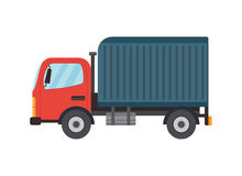Delivery Flat Style Vector Truck Illustration. Isolated on white. Side view. Logistics and delivery vehicle trendy style icon Stock Photos