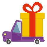 Delivery flat transport truck, van with gift box pack on white Royalty Free Stock Images