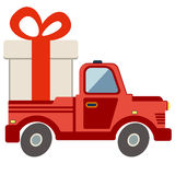 Delivery flat transport truck, van with gift box pack on white Stock Images