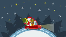 Delivery flat transport truck, van with gift box pack on white in xmas eve royalty free illustration