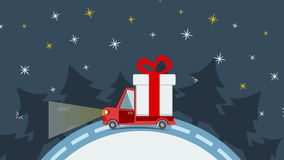 Delivery flat transport truck, van with gift box pack in xmas eve stock footage