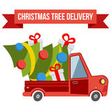Delivery flat transport truck, van with xmas tree on white Royalty Free Stock Image