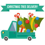 Delivery flat transport truck, van with xmas tree on white Stock Image
