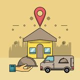 Delivery of food address. Delivery of food home address location vector illustration graphic design royalty free illustration