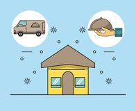 Delivery of food address. Delivery of food home address location vector illustration graphic design vector illustration