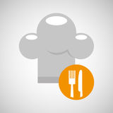 Delivery food chef hat fork knife Stock Images