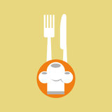 Delivery food chef hat fork knife Royalty Free Stock Photos