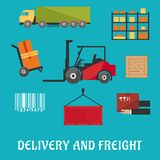 Delivery and freight flat infographic Royalty Free Stock Photography