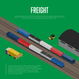Delivery freight isometric banner Royalty Free Stock Photos