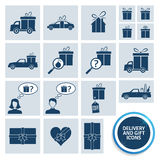 Delivery and gift icons Stock Photography