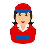 Delivery Girl Avatar Flat Icon on White Royalty Free Stock Photos